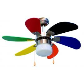 Orbegozo CC 65085 - Ventilador Techo Infantil Multicolor 6 palas 85cm