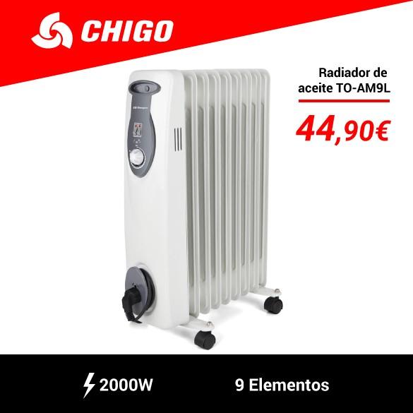 Radiador de Aceite Chigo-Tosgo TO-AM9L 9 Elementos 2000W